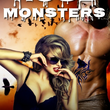 Huge Monsters EBook cover: Woman with large breasts and muscular man